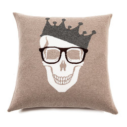 Rani Arabella - Rani Arabella Brown Skull Cashmere Blend Pillow, Beige - Add a bold, quirky print to your living or dining room using the Skull Crown Cashmere Blend Pillow. Made from 70% cashmere and 30% wool, this pillow features a white skull image with glasses and crown against a beige background. Pair it with neutral-toned decor for a cohesive, but eye-catching look. Includes a 50% down and 50% polyester insert. Dry clean only. Made in Italy.
