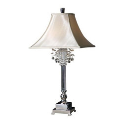 Uttermost - Uttermost 26927 Fascination Table Lamp - Uttermost 26927 Carolyn Kinder Fascination Table LampThis lamp features silver plated metal with crystal accents. The square bell shade is a silken champagne textile.Features: