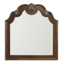 """Hooker Furniture - Hooker Furniture Grand Palais Shaped Top Portrait Mirror - The essence of luxurious European traditional style, Grand Palais features bold scaling, dramatic shaping and exquisite design details. Curved details in frame. Hardwood Solids with Walnut, Mappa Burl, Ebony and Cherry Veneers with Resin. Dimensions: 43.5""""W x 1.75""""D x 47.25""""H."""
