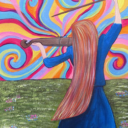 "Groovy Gal Designs Online - Dawn Girl Playing Violin Greets the Sunrise Original Acrylic Painting - Need a fantastic pop of color and musical inspiration for your space? This is the piece for you! Titled ""Dawn,"" this 12"" x 16"" acrylic painting features a lovely, long-haired girl playing a violin while greeting the day. (Of course, it's a funky, groovy sky!)"