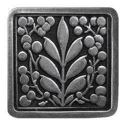 """Inviting Home - Mountain Ash (brilliant pewter) - Hand-cast Mountain Ash Knob in brilliant pewter finish; 1-3/8""""W x 1-3/8""""H Product Specification: Made in the USA. Fine-art foundry hand-pours and hand finished hardware knobs and pulls using Old World methods. Lifetime guaranteed against flaws in craftsmanship. Exceptional clarity of details and depth of relief. All knobs and pulls are hand cast from solid fine pewter or solid bronze. The term antique refers to special methods of treating metal so there is contrast between relief and recessed areas. Knobs and Pulls are lacquered to protect the finish. Alternate finishes are available. Detailed Description: The Mountain Ash knobs have a great symmetrical balance to it. These pulls will bring structure and familiarity to your cabinets. Its design will not go out of style even though it is a pull that makes a very forward statement. The Mountain Ash knobs are designed for use in combination with Mountain Ash pulls."""