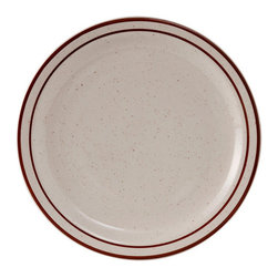 Tuxton - 9 inch Plate Narrow Rim in Eggshell White with Brown Speckles - Case of 24 - Our plates and dishes are designed to combine with insulated domes bases and other innovative food systems for extended heat retention. The ideal dinnerware collection for a fastpaced environment with exceptional durability and value. The deep brown speckle band and line add a touch of color and distinctive quality to the table.