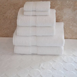 Luxury Hotel & Spa 100% Turkish Cotton 7 pc. Combination including Circle Design - Perfect as a gift, the Luxury Hotel & Spa 100% Turkish Cotton 7 pc. Combination including Circle Design Bath Mat is a plush, thirsty, and stylish set. They're made of thick, 100% Turkish white cotton. This towel set features a double-stitch edge, natural dobby weave, and a bath mat with raised circles design. All that, plus they get softer with each wash!