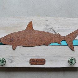 Shark (rusted steel) on white wash wood frame - Framed shark