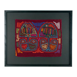 "Salvatecture Studio - Vintage Framed Panama Kuna Mola ""Bird Skulls"" Wall Art - Feature expert craftsmanship and tribal style on your wall with this vintage hand-stitched cloth with its charming, vibrant bird pattern. This unique work is part of the traditional costume of Kuna women from Panama, and comes mounted on black mat board in a black wood frame, so you can showcase it in any room of the house that needs a little brightening."
