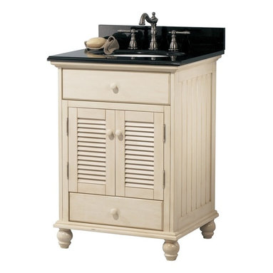 Pegasus - Cottage 24 in. Single Bathroom Vanity - CTAA2 - Manufacturer SKU: CTAA2422D. Faucet and sink not included. Vanity with louvered door. Classic cottage design. Lower drawer with fully extending drawer glides. Dovetail drawer construction for stronger joints. Matching wood knobs and nickel hinges. Bun feet. Beveled mirror. 4 in. frame thickness. Pre-attached hanger mount. Premium antique white finish. No assembly required. Vanity: 24 in. W x 21.5 in. D x 34 in. H (62.15 lbs.). Mirror: 23.5 in. W x 32 in. H (23.45 lbs.)