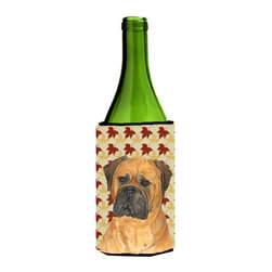 Caroline's Treasures - Bullmastiff Fall Leaves Portrait Wine Bottle Koozie Hugger - Bullmastiff Fall Leaves Portrait Wine Bottle Koozie Hugger Fits 750 ml. wine or other beverage bottles. Fits 24 oz. cans or pint bottles. Great collapsible koozie for large cans of beer, Energy Drinks or large Iced Tea beverages. Great to keep track of your beverage and add a bit of flair to a gathering. Wash the hugger in your washing machine. Design will not come off.