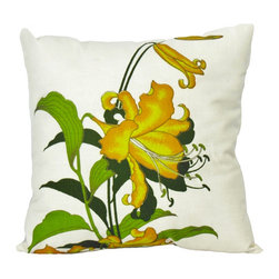 "Alfred Shaheen Yellow Lily Pillow -20"" Sq. - This custom pillow is made with vintage Alfred Shaheen fabric and features a rich cream fabric hand-printed with a bouquet of rich yellow lilies. Complete with a lily floral pattern on front and back and a hand-sewn closure, add flair to your home decor."