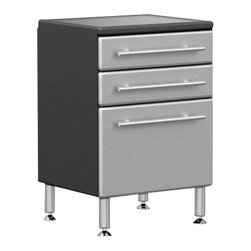 """Ultimate Garage - PRO 3-Drawer Base Cabinet - Unique Polyurethane Coated Cabinet Fronts in Silver on Strong 3/4"""" MDF. Full Radius Cabinet Profile for Custom Shop Styling and Reduced Sharp Edges. Strong 3/4"""" PB Cabinet Construction with Textured PVC Grey Laminate, Which Provides Stylish 2-Tone Color. Strong Full Extension Ball Bearing Drawer Glides with 100 lb Load Rating. Jumbo Brushed Chrome Cabinet Handles Double as Shop Towel holder. 6"""" Adjustable Aluminum Feet for Uneven Surfaces. Strong 1.25"""" Thick MDF Integrated Recesssed Worktop Surface.Get cabinet mobile by adding our heavy duty 6"""" Rolling/Locking Caster set model GA-RCS14 sold separately."""