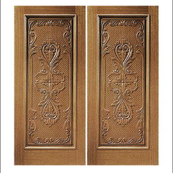 Carved and Mansion Entry Doors Model # 14 - Our Carved and Mansion doors are hand carved by master craftsman.  They will certainly add to the wow factor of any entrance exterior or interior.  The doors are Mahogany and can be stained and finished in a variety of colors to complement your homes beauty.  You may also like our International collection which is inspired by world design.