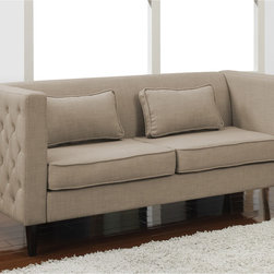 None - Dune Side-tufted Sofa and Rectangular Pillows Set - This sofa is sure to add style and grace to any living space with its striking tufted detailing on the outside of the arms. This contemporary sofa also offers a light tan upholstery and includes two rectangular pillows to complete the look.