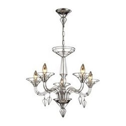 Elk Lighting - Elk Lighting Exo Classic Chandelier X-5/10032 - From the Exo Collection comes this unique blend of classic and industrial influencing. This Elk Lighting chandelier features a beautiful design that's given an intricate, industrial look thanks to the wire frame that has been highlighted by a modern satin nickel finish. Five candelabra style lights complete with faux drip trays compliment the classic design.