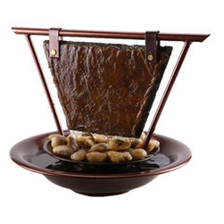 """Bluworld Innovations, LLC - Mini Haiku Moon Tabletop Fountain 11.25""""H x 15""""W Dark Copper with Natural Slate - This gorgeous tabletop fountain features a slate panel hanging from a Dark Copper powder coated frame. Water flows out of the tube, down the slate, passed the layer of polished river stones, and into the pool of water. Creates a great centerpiece for any table and comes complete with a quiet drive pump and accent light."""