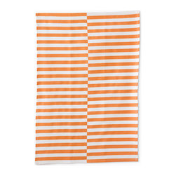 "Bambeco Gio Stripe Linen Tea Towel in Copper - Hand-printed with water-based inks on oyster-colored linen in the USA, the Gio Stripe Linen Tea Towel in Copper is the perfect kitchen accomplice. Inspired by Italian architect Gio Ponti, bold copper-colored, offset stripes create stunning impact. The 100% linen fabric is sturdy, absorbent and becomes softer with each use. Use these towels to dry the dishes, cushion a bowl, protect your hands, wrap a gift or set a table. They're a natural, reusable and responsible alternative to paper.  Linen may be one of the oldest textiles in the world, dating back to approximately 8,000BC; it is the strongest of the vegetable fibers, smooth and lint free. Linen is highly absorbent and easily dyed; the color will not fade with washings.  Dimensions: 18""W x 26""L   Care: Machine wash, tumble dry low"