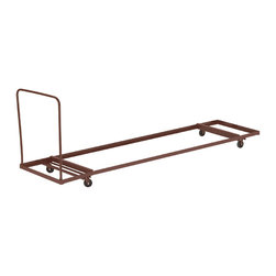 """National Public Seating - National Public Seating Folding Table Dolly - Horizontal Storage - Max 96""""L - Easily move and store all your school's folding tables on National Public Seating's Flat-Stacking Folding Table Truck. With a steel frame, this folding table truck holds up to 1,200 pounds of weight. Carry up to 12 plastic or laminate tables from room to room on the four-inch rubber casters, two of which swivel for more fluid control. Steer your truck around sharp corners with the 16-gauge steel handle. Handles tables four-feet to eight-feet long. Available in brown powder-coat finish."""