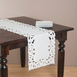 None - Saro 72-inch Rectangular Embroidered Table Runner - Add a charming accent to your dining experience with this table runner from Saro, featuring embroidered and cutwork detailing. Suitable for any occasion, this table runner highlights a stunning ivory color and a polyester construction.