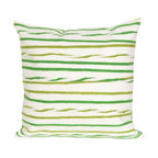 """Trans-Ocean Inc - Twist Stripe Leaf 20"""" Square Indoor Outdoor Pillow - The highly detailed painterly effect is achieved by Liora Mannes patented Lamontage process which combines hand crafted art with cutting edge technology. These pillows are made with 100% polyester microfiber for an extra soft hand, and a 100% Polyester Insert. Liora Manne's pillows are suitable for Indoors or Outdoors, are antimicrobial, have a removable cover with a zipper closure for easy-care, and are handwashable.; Material: 100% Polyester; Primary Color: Green;  Secondary Colors: olive, white; Pattern: Twist Stripe; Dimensions: 20 inches length x 20 inches width; Construction: Hand Made; Care Instructions: Hand wash with mild detergent. Air dry flat. Do not use a hard bristle brush."""