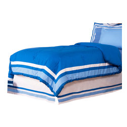 Simplicity Blue - Twin Comforter - Comforter comes a beautifully framed design in shades of dark blue, light blue and white.  Opposite side is in solid darker blue.  All in cotton print fabric.