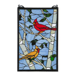 """Meyda Tiffany - Meyda 13""""W x 20""""H Cardinal Morning Window - A stunning natural setting features brilliant American Cardinals in Bright Red and Light Brown plumage while perched on Winter Gray, Bone Beige, White and Clear Ripple branches and Green leaves, on a Blue/Gray background, with all of their beautiful splendor. The stained glass window is created with delicate pieces of authentic stained glass using Meyda Tiffany's famous copper foil construction process and complemented with a frame finished in Black. Hanging chains are included."""