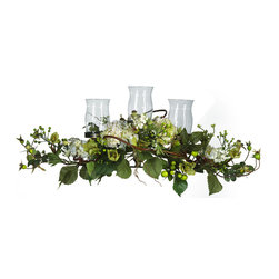 Nearly Natural - Hydrangea Triple Candleabrum Centerpiece - Hydrangeas have always been known for their incredibly diverse look and multiple features, making them a preferred centerpiece for discerning nature lovers everywhere. This beautiful arrangement takes the Hydrangea centerpiece one step further by doubling as a candelabrum. With three glass candleholders ready to accept any standard tealight, this beautiful centerpiece will bring years of joy to those who sit at your table. Also makes the perfect gift.