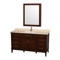 Wyndham Collection - 60 in. Eco-Friendly Bathroom Vanity with Medicine Cabinet - Includes ivory marble countertop with backsplash and undermount square porcelain sink. Faucet not included. Engineered to prevent warping and last a lifetime. 12-stage wood preparation, sanding, painting and hand-finishing process. Highly water-resistant low V.O.C. sealed finish. Transitional styling. Practical floor-standing design. Deep doweled drawers. Fully-extending under-mount soft-close drawer slides. 8 in. widespread 3-hole faucet mount. Concealed soft-close door hinges. Plenty of storage and counter space. Pre-drilled for a single faucet hole mount. Metal exterior hardware with brushed chrome finish. Made from solid birch hardwood. Dark chestnut finish. Backsplash: 60 in. W x 0.75 in. D x 3 in. H. Vanity with countertop: 60 in. W x 22 in. D x 35 in. H. Countertop: 60 in. W x 22 in. D x 0.75 in. H. Medicine cabinet: 28 in. W x 6.25 in. D x 36 in. H (72 lbs.). Vanity: 60 in. W x 22 in. D x 35 in. H (185 lbs.). Warranty. Care Instructions. Vanity Installation Instructions. Cabinet Installation Instructions. Counter Handling InstructionsBring a feeling of texture and depth to your bath with the gorgeous Hatton vanity series. A contemporary classic for the most discerning of customers. The Wyndham Collection is an entirely unique and innovative bath line. Sure to inspire imitators, the original Wyndham Collection sets new standards for design and construction. Compliments any bathroom.