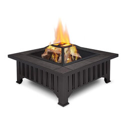 Real Flame - Lafayette Fire Pit - Burns seasoned firewood or converts to Real Flame Gel Cans with the addition of Real Flame 2-Can or 4-Can Outdoor Conversion Log Sets. Heat resistant powder coated steel frame with natural slate tile top. Includes: spark screen, log poker tool and protective storage cover. 90 day limited warranty. Basic assembly requiredEnhance the atmosphere of your outdoor living space with the Lafayette Fire Pit. Classic styling and neutral gray tile top bring functional wood burning ambiance to your outdoorenvironment. Includes spark screen, log poker tool and vinyl protective storage cover. The Lafayette Fire Pit can be adapted for Real Flame Gel cans with the addition of the Real Flame 2-Can or 4-Can Outdoor Conversion Log Sets.