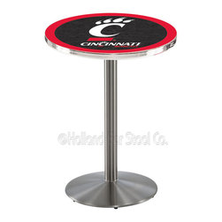 Holland Bar Stool - Holland Bar Stool L214 - Stainless Steel Cincinnati Pub Table - L214 - Stainless Steel Cincinnati Pub Table belongs to College Collection by Holland Bar Stool Made for the ultimate sports fan, impress your buddies with this knockout from Holland Bar Stool. This L214 Cincinnati table with round base provides a commercial quality piece to for your Man Cave. You can't find a higher quality logo table on the market. The plating grade steel used to build the frame ensures it will withstand the abuse of the rowdiest of friends for years to come. The structure is 304 Stainless to ensure a rich, sleek, long lasting finish. If you're finishing your bar or game room, do it right with a table from Holland Bar Stool. Pub Table (1)