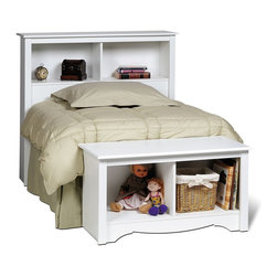 Prepac - Twin Bookcase Headboard in White Finish - This twin sized headboard is a great place to store books, an alarm clock, and anything else you'd like to have within immediate reach.  Its fresh white finish accommodates anyone, from children to adults.  This attractive headboard is a wonderful addition to a child's bedroom or guest room.  The dual cubbies allow for easy access of stored items, while its attractive white finish brings a clean and fresh feeling. Two storage compartments. Suitable for twin-sized beds. Warranty: Five years. Made from CARB-compliant, laminated composite woods and sturdy MDF backer. Made in North America. Minimal assembly required. Compartment: 21.5 in. W x 9.25 in. D x 11.25 in. H. Overall: 44.75 in. W x 11 in. D x 43 in. HGain valuable storage space with the Twin Bookcase Headboard. Ideal for smaller bedrooms, this headboards two compartments offer more than enough room for your bedside necessities, whether an alarm clock or a teddy bear. With its simple design and everyday practicality, all this headboard needs is a bed. This free-standing product is designed to be paired with any twin bed including our Twin Mates Platform Storage Bed.