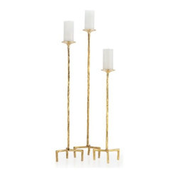 Z Gallerie - Antonio Pillar Holder - Set of 3 - With a strikingly tall silhouette and organic feel, our Antonio Pillar Holders layer your décor with a stunning display of candlelight. Sold as a set of three, our statuesque Antonio Pillar Holders bring modern detailing and metallic gold hues to illuminate your home.  Best displayed as a collection, each pillar holder holds a standard 3 inch wide pillar (not included). Exclusive to Z Gallerie.