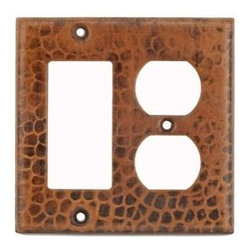 Premier Copper Products - Copper Combination Switchplate with 2 Hole Ou - Finish: Oil Rubbed Bronze (Dark Brown). 100% Recyclable. Composition: 99.7% Pure Recycled Copper. Lead Free (less than .01%). Patina: Fired. Warranty: Limited Lifetime. 4.5 in. W x 4.5 in. H ( 1 lb. ). Product SpecificationsCopper Combination Switchplate, 2 Hole Outlet and Ground Fault/Rocker GFI Cover