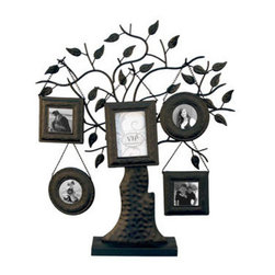 VIP - Family Tree Picture Frame Tree With Base - Family  Photos  on  a  Real  Family  Tree          This  ornate  iron  tree  is  designed  to  hold  five  assorted  picture  frames,  each  able  to  accommodate  a  separate  photo.  Frame  sizes  range  from  3x3  to  4x6.  Base  and  5  picture  frames  included                  Photo  frames  hang  from  chains  on  the  tree  branches              Overall  dimensions  21.5x17.75              includes  base              Allow  2  weeks  for  shipping