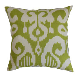 "The Pillow Collection - Teora Ikat Pillow Lime 18"" x 18"" - Finish off your interior with this wonderfully soft throw pillow. This square pillow comes with an eclectic ikat pattern in a bold and bright lime green hue. This 18"" pillow is adequately sized to suit most of your furniture pieces like your bed, couch or seat. Place this accent pillow on a strategic location and make it the highlight piece. This decor pillow is durable and made from a blend of 95% cotton and 5% linen materials. Hidden zipper closure for easy cover removal.  Knife edge finish on all four sides.  Reversible pillow with the same fabric on the back side.  Spot cleaning suggested."