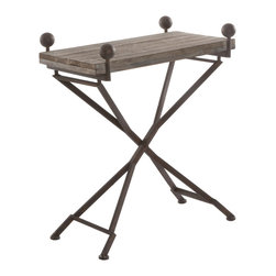 Kathy Kuo Home - French Country Reclaimed Wood Folding Wrought Iron Side Table- S - A beautiful grain of aged wood sits atop rusted iron legs on this folding accent table.