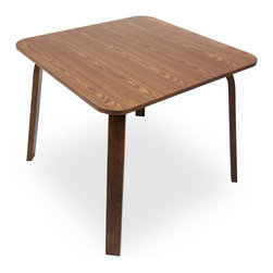 Bryght - Nes Square Cocoa Wood Dining Table - The Nes dining table is a graceful bentwood design made from molded plywood that has been expertly veneered. This dining table perfectly brings together simplistic elegance with its smooth lines and a strong and sturdy sculptural design.