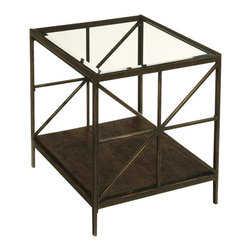 "Hammary - Crossnore Rectangular End Table - Eco-friendly. Beveled glass inset. Weathered bottom wood shelf. Sleek and rectilinear form. Gate inspired starburst end motifs. Limited warranty. Made from rubbed dark steel and high-quality reclaimed lumber. Dark brass and chestnut brown finish. Assembly required. 22 in. W x 26 in. D x 24 in. HThis is occasional furniture that displays a unique sense of pride in creativity and craftsmanship. Wrap your home in warmth, harmony and tranquility, not to mention beauty and lasting quality. ""Crossnore"" from Hammary. Crossnore is built to last for generations."