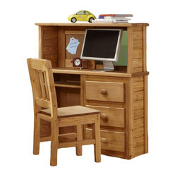 Chelsea Home - Computer Desk with Desk Top Hutch - Chair not included. Rustic style. Constructed for strength and durability. Three drawer storage and keyboard storage area. Drawers mounted on rolling metal glide for easy opening and closing. Warranty: One year. Made from solid pine wood. Ginger stain finish. Made in USA. No assembly required. Drawer: 12 in. W x 12 in. D x 4.5 in. H. Overall: 43 in. W x 16 in. D x 50 in. H (85 lbs.)
