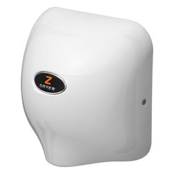 zDryer - Hand Dryer Commercial 5-10 Seconds Drying Time, White - zDryer is not your average hand dryer. It is a beautiful, 16 Gauge with 18/10 Chromium/Nickel with no rust construction, which will well-exceed your expectations. It is energy efficient with a new, hybrid, low-consumption hand dryer with only 1586 Watt electrical system and 8-12 seconds drying time. zDryer took the next step up from the standard electric hand dryers, and designed the motor housing to be made from one piece - specifically structured to prevent air loss and speed. As more cracks are eliminated, less air can escape through the system itself, which keeps the pressure strong and noise level much lower than other standard hand dryers. This fully-automatic, electric, warm-air hand dryer operates with a touch-less sensor when activated by positioning hands below the nozzle, it turns on when hands are present and shuts off a second after they are gone. zDryer is smaller than standard hand dryers, and has the added feature of hardwire or plug-in ready use, even for the unlikeliest of spaces.