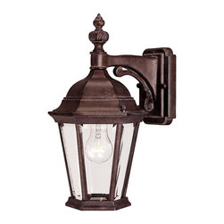 Savoy House - Savoy House Wakefield Outdoor Wall Mount Light Fixture in Walnut - Shown in picture: Traditional Exterior - Versatile in Walnut Patina Finish with Clear Beveled Glass
