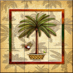 The Tile Mural Store (USA) - Tile Mural - Coconut Palm 3   - Kitchen Backsplash Ideas - This beautiful artwork by Dan Morris has been digitally reproduced for tiles and depicts a framed palm tree.  With our enormous selection of tile murals of tropical plants and flowers you can bring your kitchen backsplash tile project to life. A decorative tile mural with plants and flowers is an impressive kitchen backsplash idea and decorative flower tiles also work great in the bathroom. Add splashes of color and life to your tile project with images of flowers on tiles and tiles with pictures of plants.