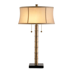 "Kathy Kuo Home - Anais Hollywood Regency Contemporary Brass Lamp- 26""H - A stylish, masculine desk lamp with transitional flair; warm antique brass is accented with a classic drum shade and double pull chain sockets."