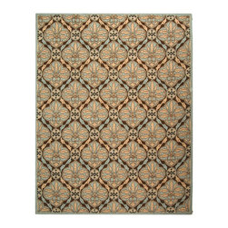 """Safavieh - Chelsea Rug, Brown/Blue, 7' 9"""" x 9' 9"""" - 100% pure virgin wool pile, hand-hooked to a durable cotton backing. American Country and turn-of-the-century European designs. Th'scollection is handmade in China exclusively for Safavieh."""