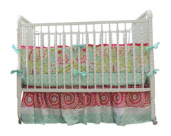 Tushies and Tantrums - Boutique Crib Bedding using Kumari Garden in Aqua Trellis, Pink & Paisley Fabric - Another beautiful Kumari Garden creation! This set of fabrics will fit perfectly in your little girl's nursery and incorporates so many gorgeous colors that you're sure to find the color combo you're looking for!