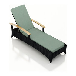 Harmonia Living - Arbor Outdoor Reclining Chaise Lounge, Canvas Spa Cushion - The Arbor Collection is perfect for creating a modern outdoor look while providing a great value. The Harmonia Living Arbor Rattan Patio Reclining Chaise Lounge with Turquoise Sunbrella cushions (SKU HL-AR-CB-RCL-SP) is constructed with durable, thick-gauged aluminum frames which are protected by a powder coating for superior corrosion resistance. The wicker is made of High-Density Polyethylene (HDPE) with its coffee bean color and UV resistance infused into the strands themselves. This creates a rich wicker color that holds up incredibly well with age. Its Grade A teak arms have been kiln-dried, removing excess moisture to ensure it will not crack or warp. Thick, comfy cushions are covered in Canvas Spa fabric by Sunbrella, the industry leader in mildew- and fade-resistant outdoor fabric. This chaise adheres to the highest quality standards for modern patio furniture in the market today, meaning it will last for years to come.