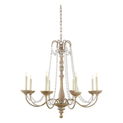 "Flanders Chandelier, Belgian White with Seeded Glass Beads - Delicate opulence reigns supreme in this elegant chandelier. You'll feel transported to the Gatsby estate as you gaze upon the seeded glass beads that lustrously hang from the candelabra. Give your foyer a ""wow piece"" with this stunning chandelier."