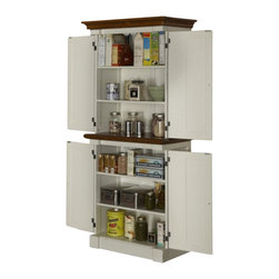 Home Styles - Home Styles Monarch Pantry in White and Oak - Home Styles - Pantry - 502065 - The Monarch Pantry by Home Styles blends upscale design with functionality. This stylish pantry blends hardwood solids, engineered woods, and veneers with an affluent, rubbed white and nine-step distressed oak finish.