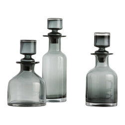 """Arteriors - O'Connor Decanters - Set of 3, Smoke - Set of three mouth-blown amber glass decanters with stoppers.  Use on your bar with your favorite spirits in combination with your own vintage decanters or put one in each bathroom to hold mouthwash.  A great gift, but an even better gift when filled with homemade infused liquors.  Comes in Amber or Smoke glass.  Food safe.  Small bottle: 6"""" w x 6"""" d x 10"""" h  Medium bottle: 5"""" w x 5"""" d x 11 1/2"""" h  Large bottle: 4"""" w x 4"""" d x 14"""" h"""