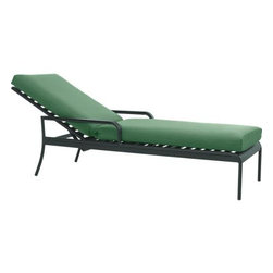 "Orleans Chaise Lounge Chair with Sunbrella® Bottle Green Cushion - Elegant French Provencal curves nod to streamlined midcentury modern in this gracious and timeless outdoor collection. Comfortable lounge seating takes shape in durable yet lightweight aluminum tubing, powdercoated in a classic shade of evergreen. Slatted design has a softly rounded frame, complete with retro-inspired ""covered"" armrests and a back that adjusts to multiple positions. Bottle green chair cushion is covered in fade- and weather -resistant Sunbrella® acrylic with fabric tab fasteners to hold it in place. Orleans dining collection also available."