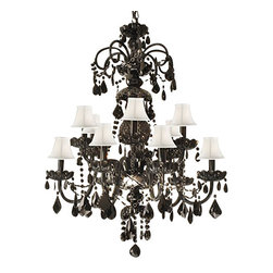 Authentic ALL Crystal Chandelier Jet Black Crystal with White Shades - This beautiful Chandelier is trimmed with Empress Crystal(TM). Item must be hardwired. Professional installation is recommended. Requires (12) 40 watt bulbs - not included.