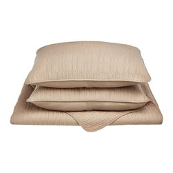 McKinley Quilt Set - King/California King - Taupe - The McKinley Quilt Set features an embroidered cobblestone pattern and is available in five different colors. This set is made of 100% cotton and includes (1) Quilt: 106x92 and (2) Pillowshams: 20x36 each.