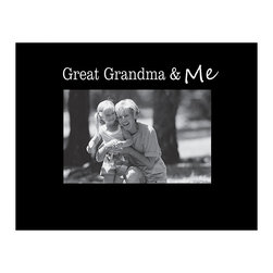 Havoc Gifts - Black 'Great Grandma & Me' Frame - Engraved lettering ups the sophistication of this timeless frame, perfect for showcasing cherished memories. It comes ready to display with an easel back and simple sawtooth hanger.   9'' W x 7'' H x 0.5'' D Holds 4'' x 6'' photo Wood / glass / paper Easel / sawtooth back Imported